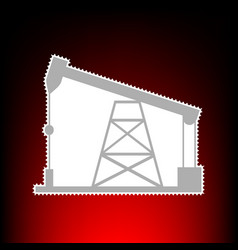 oil drilling rig sign postage stamp or old photo vector image