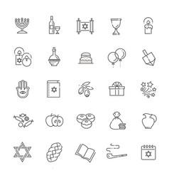 Outline icon collection - symbols of hanukkah vector