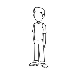 Outline young boy standing kid image vector
