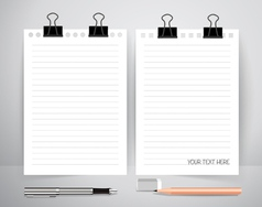 Paper with pen and pencil Business working vector image