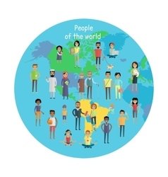 People of The World Concept in Flat Design vector image