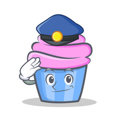 Police cupcake character cartoon style vector