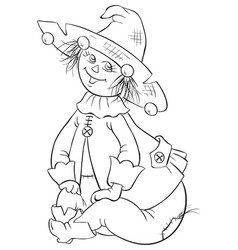 Scarecrow wizard of oz coloring page vector