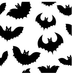 seamless pattern of a black bat on halloween vector image
