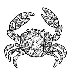 Stylized crab zentangle vector image