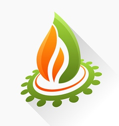 Symbol fire with gear orange and green flame glass vector