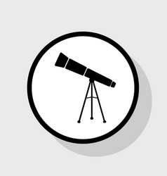 telescope simple sign flat black icon in vector image