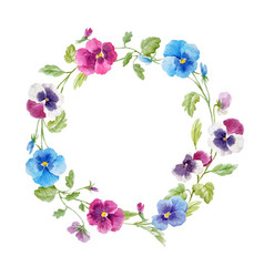 Watercolor pansy flower wreath vector