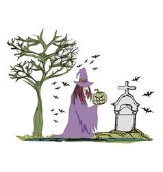 Witch with halloween pumpkin vector