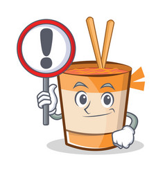 With sign cup noodles character cartoon vector