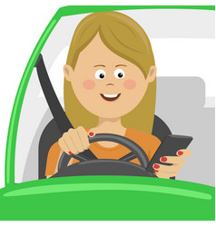 Young woman using her smartphone behind the wheel vector