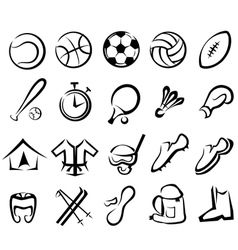 Sports equipment set isolated icons vector