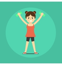 Smiling fitness girl doing exercise vector