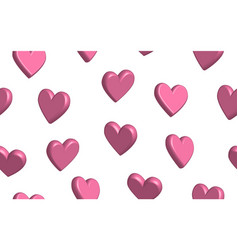 Seamless pattern hearts in 3d vector
