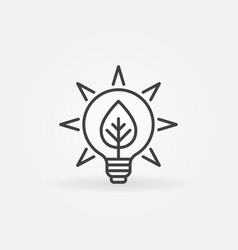 Bulb with leaf icon vector
