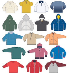 Sweatshirt hoodie and fleece templates collection vector