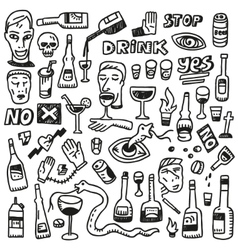 Alcohol bottles - doodles vector
