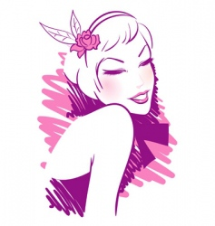 Retro women pink vector