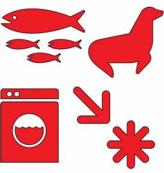 Red icons set vector