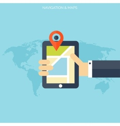 Flat navigation background with maps and digital vector image