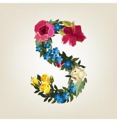 S letter flower capital alphabet colorful font vector