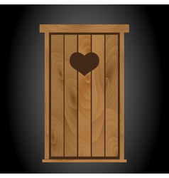 latrine toilet from wood with heart on doors eps10 vector image