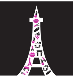retro paris eiffel tower silhouette vector image