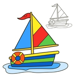 Sailing vessel coloring book page vector