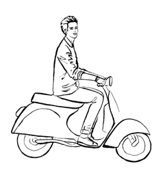 Man driving scooter vector