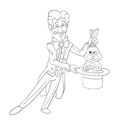 Magician and rabbit vector