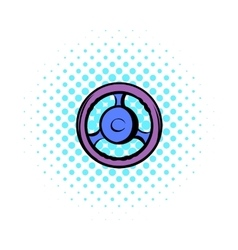 Automobile wheel comics icon vector