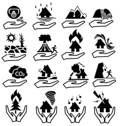 Natural disaster insurianes icon set vector