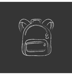 Backpack drawn in chalk icon vector