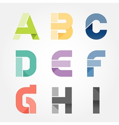 Alphabet modern paper cut abstract style design vector