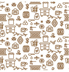 Apiary outline icon seamless pattern vector
