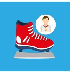 Athlete medal ice skate icon graphic vector