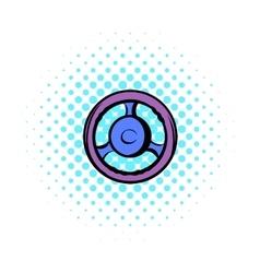 Automobile wheel comics icon vector