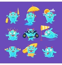 Blue dinosaur in different situations vector