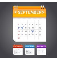 calendar september vector image