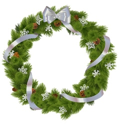 Christmas Wreath with Snowflakes vector image vector image