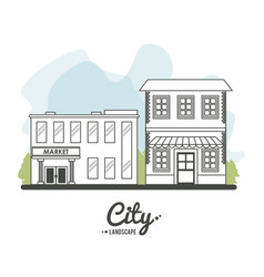 city landscape market store building stree tree vector image