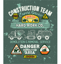cute kids roads construction company vector image vector image