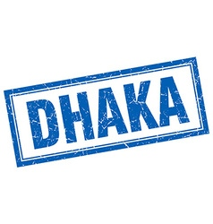 Dhaka blue square grunge stamp on white vector