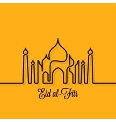 Eid mubarak design line concept background vector