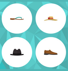 Flat icon dress set of elegant headgear male vector