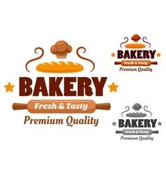 Fresh and Tasty cartoon bakery emblem vector image vector image