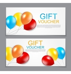 Gift voucher template balloon discount coupon vector