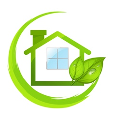 Green logo of eco house with leafs vector