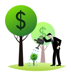 Growing money trees vector image