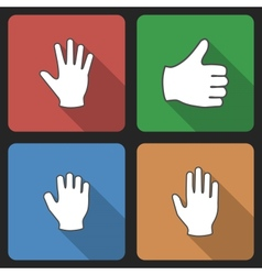 Hand Set Icins with Long Shadow vector image